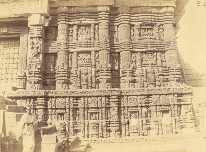 Close view showing sculptural details of right half of east façade of the refectory of the Jagannatha Temple, Puri